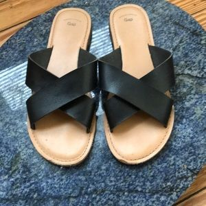Gap Black Leather Sandals